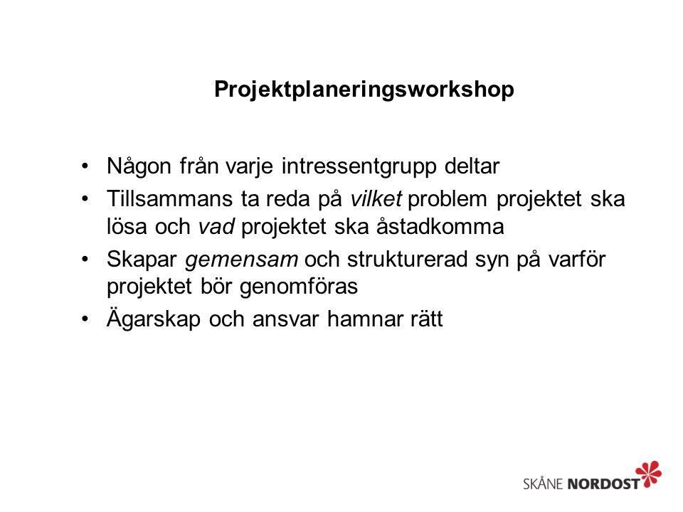 Projektplaneringsworkshop Någon från varje intressentgrupp deltar Tillsammans ta reda på vilket problem projektet ska lösa och vad projektet ska åstad
