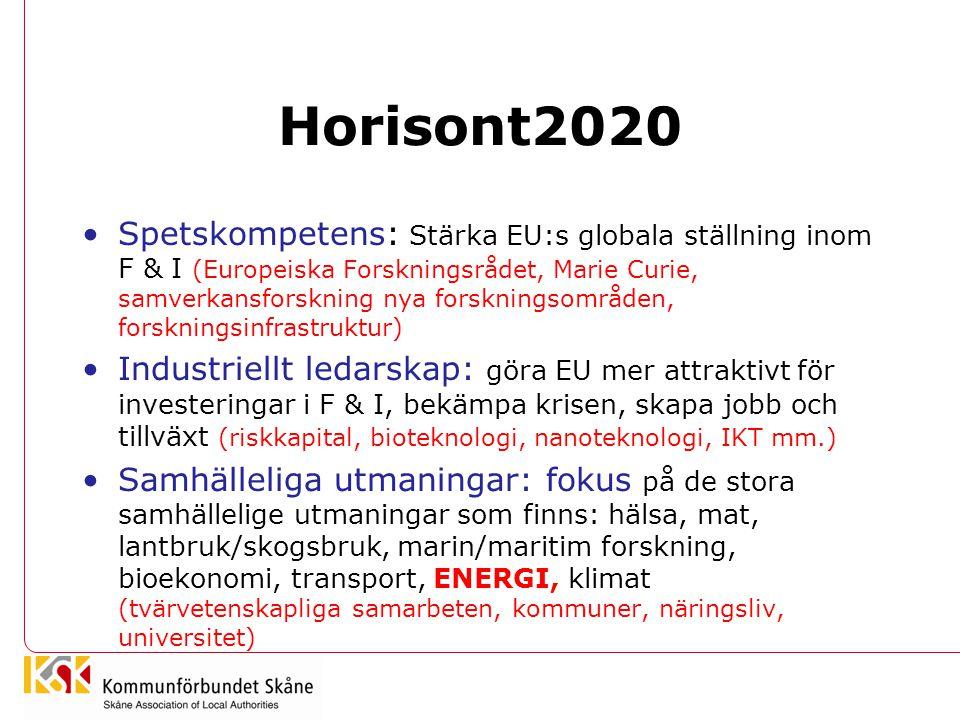 Horisont2020 Spetskompetens: Stärka EU:s globala ställning inom F & I (Europeiska Forskningsrådet, Marie Curie, samverkansforskning nya forskningsområden, forskningsinfrastruktur) Industriellt ledarskap: göra EU mer attraktivt för investeringar i F & I, bekämpa krisen, skapa jobb och tillväxt (riskkapital, bioteknologi, nanoteknologi, IKT mm.) Samhälleliga utmaningar: fokus på de stora samhällelige utmaningar som finns: hälsa, mat, lantbruk/skogsbruk, marin/maritim forskning, bioekonomi, transport, ENERGI, klimat (tvärvetenskapliga samarbeten, kommuner, näringsliv, universitet)