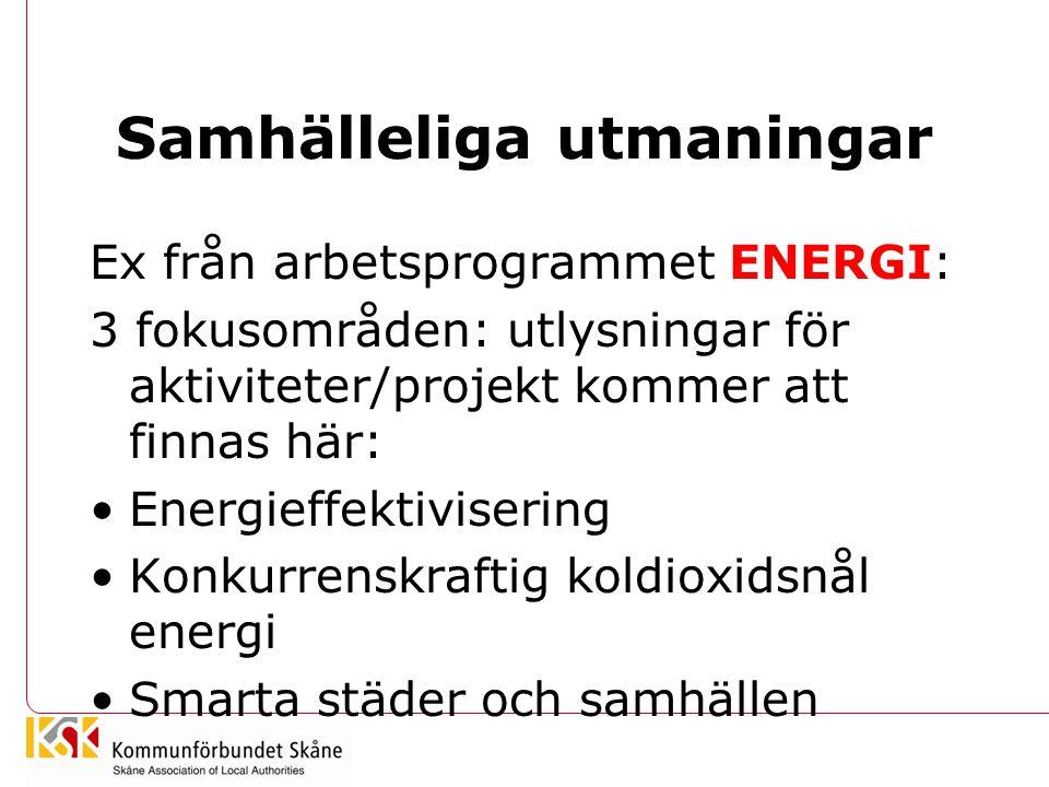 Samhälleliga utmaningar Ex från arbetsprogrammet ENERGI: 3 fokusområden: utlysningar för aktiviteter/projekt kommer att finnas här: Energieffektivisering Konkurrenskraftig koldioxidsnål energi Smarta städer och samhällen