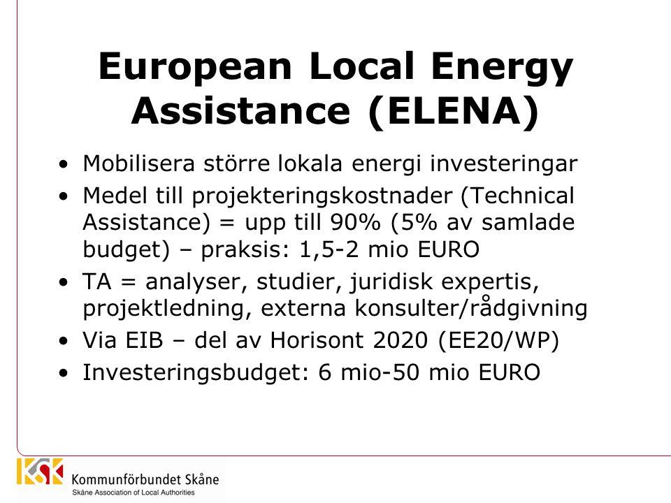 European Local Energy Assistance (ELENA) Mobilisera större lokala energi investeringar Medel till projekteringskostnader (Technical Assistance) = upp till 90% (5% av samlade budget) – praksis: 1,5-2 mio EURO TA = analyser, studier, juridisk expertis, projektledning, externa konsulter/rådgivning Via EIB – del av Horisont 2020 (EE20/WP) Investeringsbudget: 6 mio-50 mio EURO