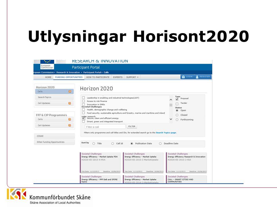 Utlysningar Horisont2020