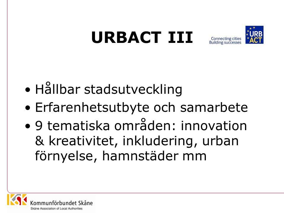 URBACT III Hållbar stadsutveckling Erfarenhetsutbyte och samarbete 9 tematiska områden: innovation & kreativitet, inkludering, urban förnyelse, hamnst
