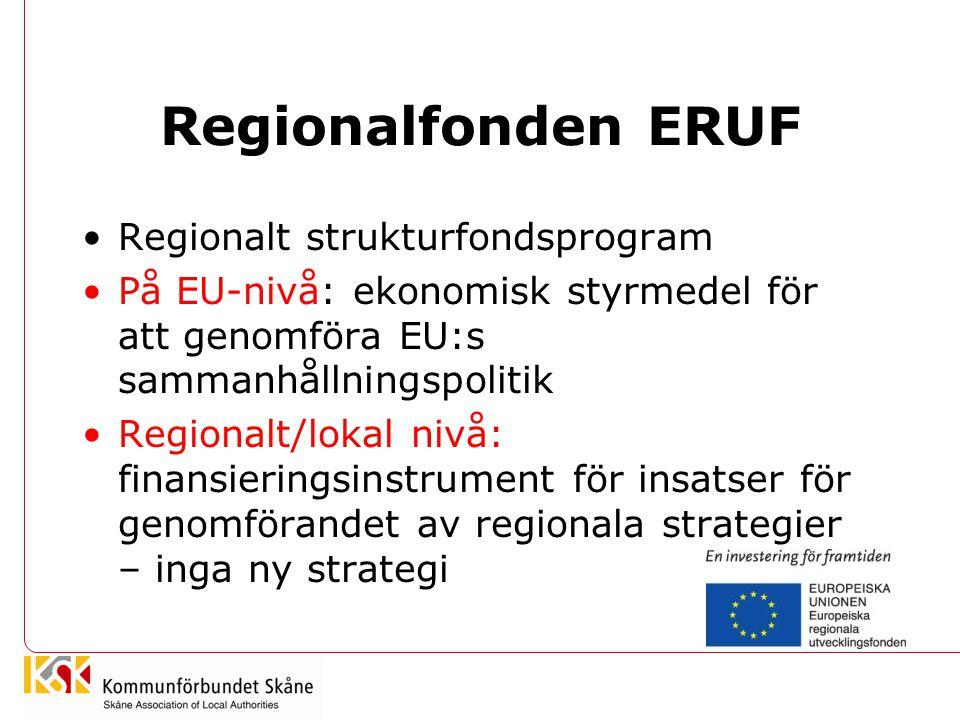 Regionalfonden ERUF Regionalt strukturfondsprogram På EU-nivå: ekonomisk styrmedel för att genomföra EU:s sammanhållningspolitik Regionalt/lokal nivå: finansieringsinstrument för insatser för genomförandet av regionala strategier – inga ny strategi