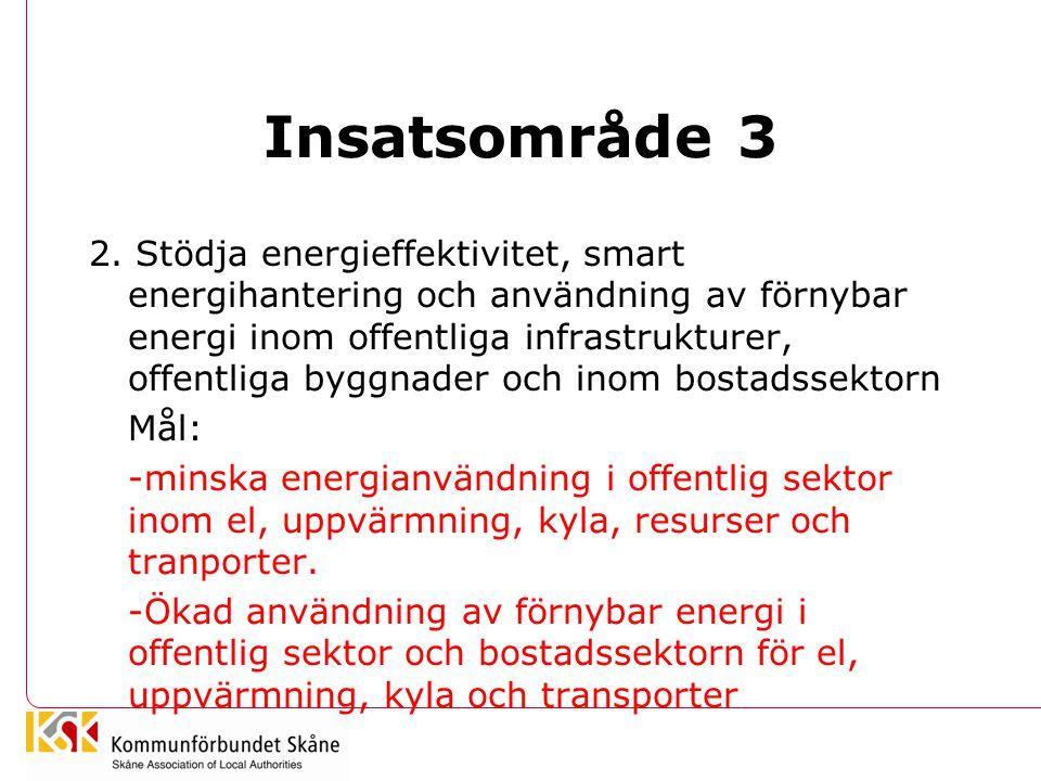 Insatsområde 3 2. Stödja energieffektivitet, smart energihantering och användning av förnybar energi inom offentliga infrastrukturer, offentliga byggn