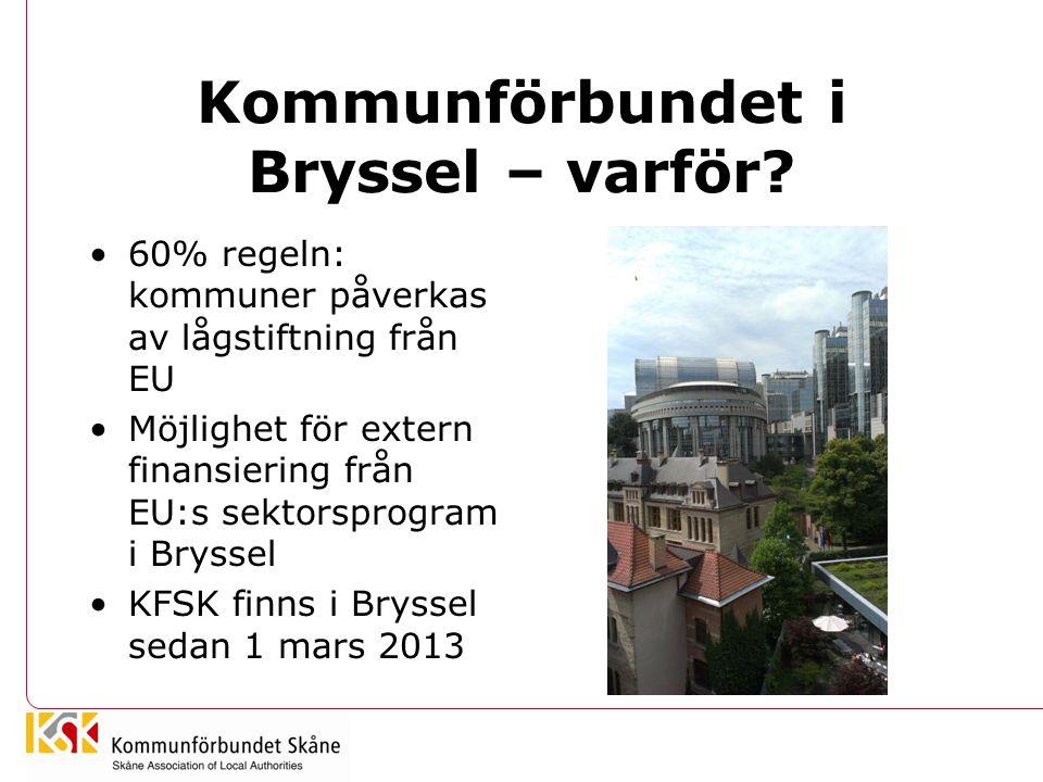 Kommunförbundet i Bryssel – varför? 60% regeln: kommuner påverkas av lågstiftning från EU Möjlighet för extern finansiering från EU:s sektorsprogram i