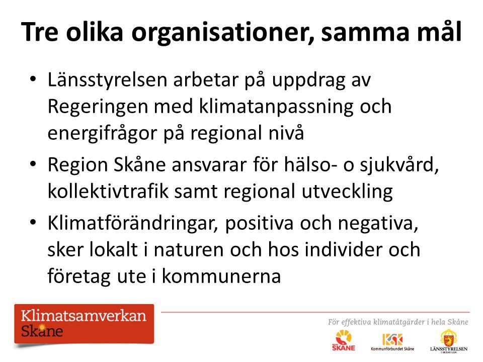 Tre olika organisationer, samma mål Länsstyrelsen arbetar på uppdrag av Regeringen med klimatanpassning och energifrågor på regional nivå Region Skåne