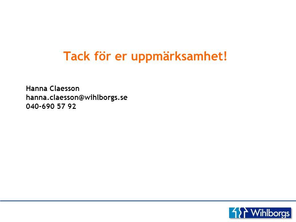 Tack för er uppmärksamhet! Hanna Claesson hanna.claesson@wihlborgs.se 040-690 57 92