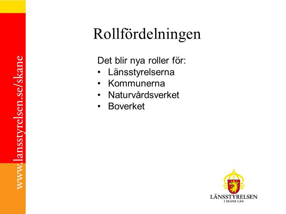 Rollfördelningen Det blir nya roller för: Länsstyrelserna Kommunerna Naturvårdsverket Boverket