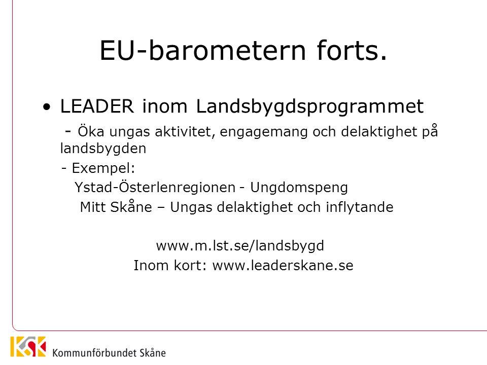 EU-barometern forts. LEADER inom Landsbygdsprogrammet - Öka ungas aktivitet, engagemang och delaktighet på landsbygden - Exempel: Ystad-Österlenregion