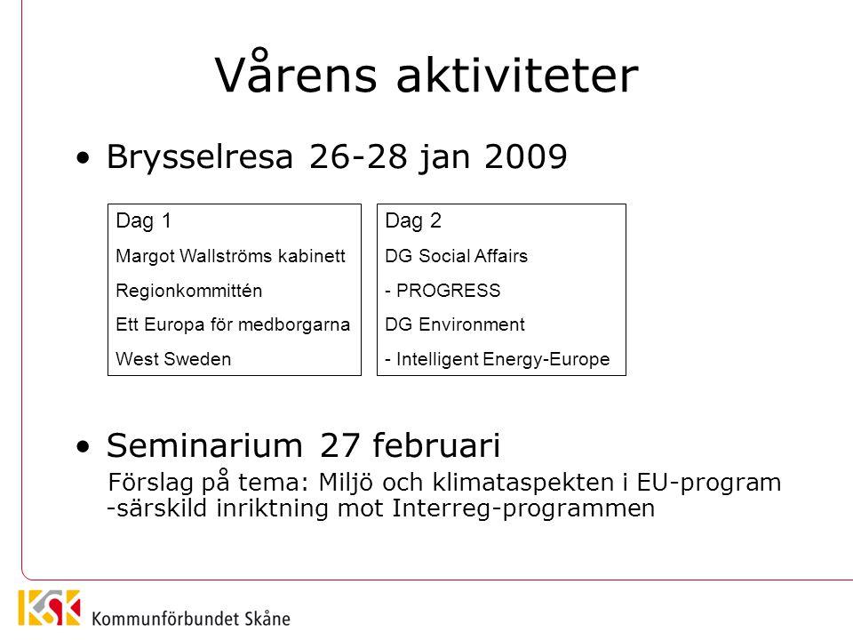 Vårens aktiviteter Brysselresa 26-28 jan 2009 Seminarium 27 februari Förslag på tema: Miljö och klimataspekten i EU-program -särskild inriktning mot I