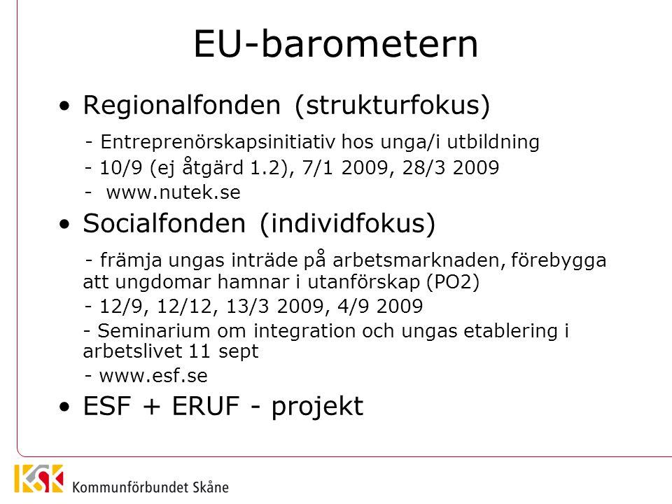 EU-barometern Regionalfonden (strukturfokus) - Entreprenörskapsinitiativ hos unga/i utbildning - 10/9 (ej åtgärd 1.2), 7/1 2009, 28/3 2009 - www.nutek