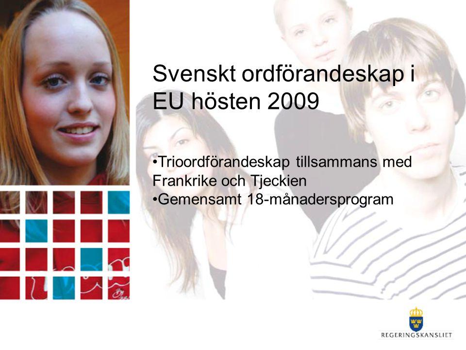 Svenskt ordförandeskap i EU hösten 2009 Trioordförandeskap tillsammans med Frankrike och Tjeckien Gemensamt 18-månadersprogram