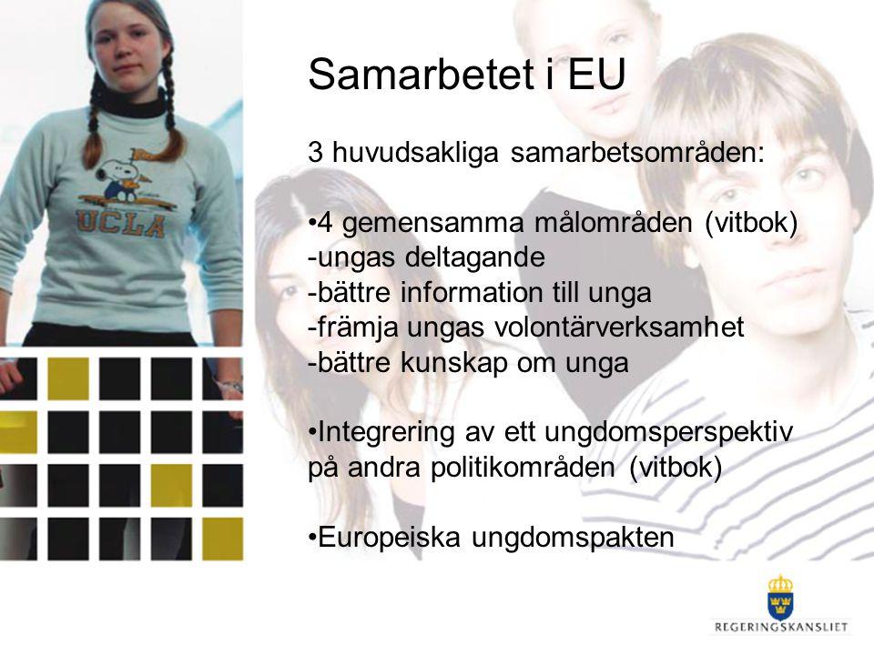 Samarbetet i EU 3 huvudsakliga samarbetsområden: 4 gemensamma målområden (vitbok) -ungas deltagande -bättre information till unga -främja ungas volont