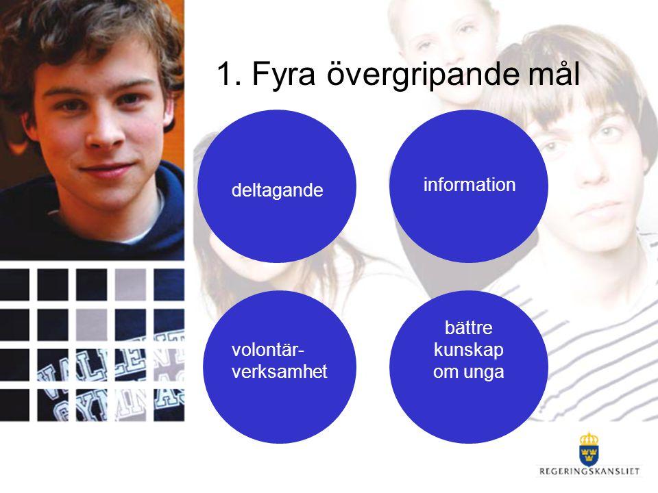 1. Fyra övergripande mål deltagande information bättre kunskap om unga volontär- verksamhet