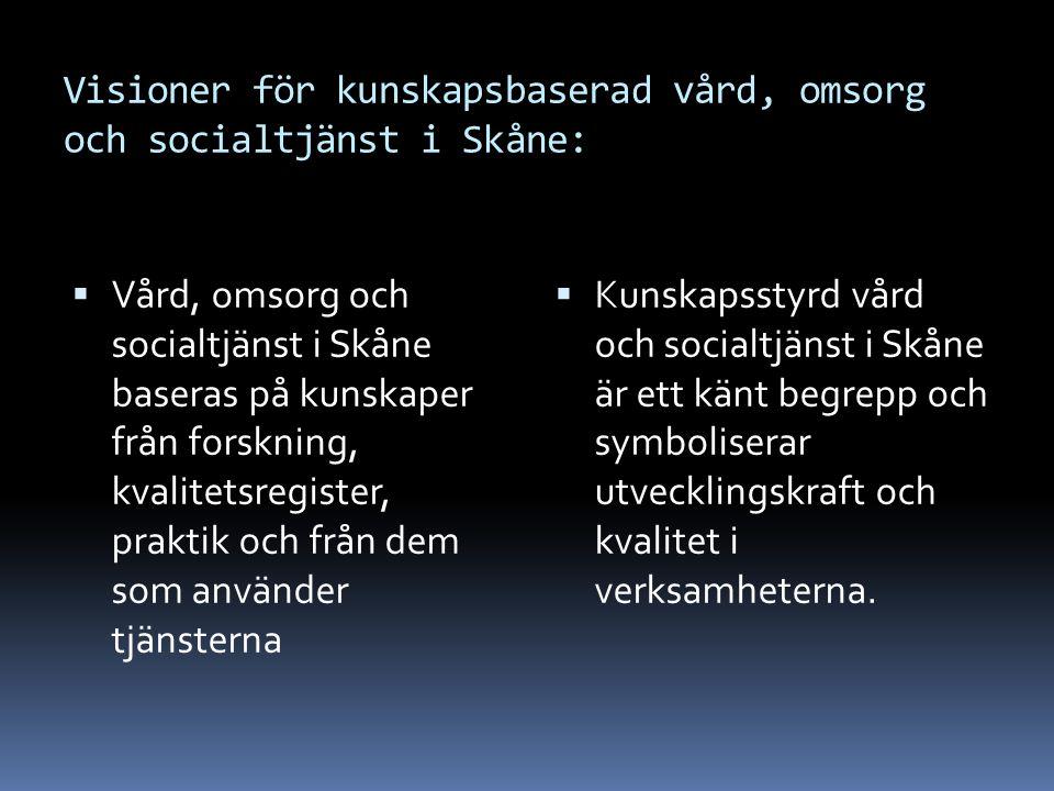 Visioner för kunskapsbaserad vård, omsorg och socialtjänst i Skåne:  Vård, omsorg och socialtjänst i Skåne baseras på kunskaper från forskning, kvali