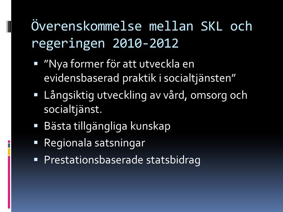 """Överenskommelse mellan SKL och regeringen 2010-2012  """"Nya former för att utveckla en evidensbaserad praktik i socialtjänsten""""  Långsiktig utveckling"""