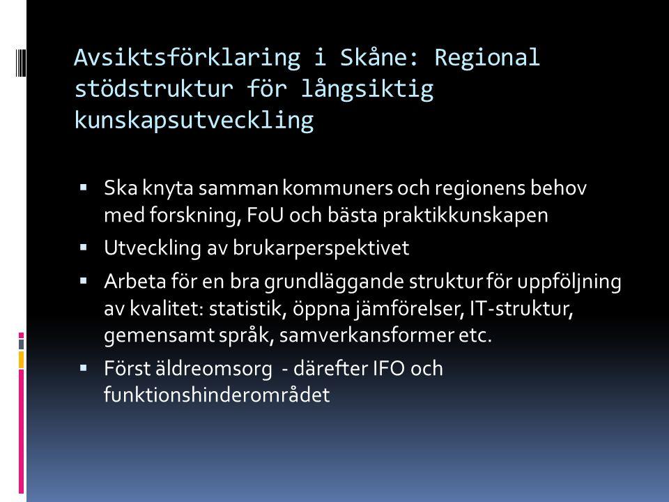 Avsiktsförklaring i Skåne: Regional stödstruktur för långsiktig kunskapsutveckling  Ska knyta samman kommuners och regionens behov med forskning, FoU