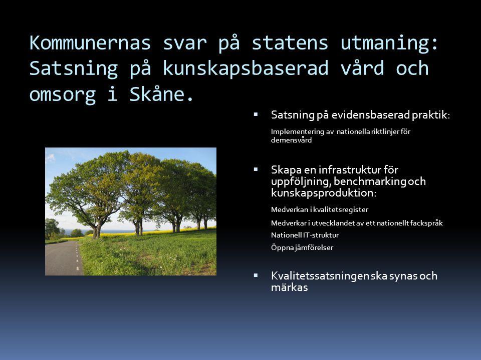 Kommunernas svar på statens utmaning: Satsning på kunskapsbaserad vård och omsorg i Skåne.  Satsning på evidensbaserad praktik: Implementering av nat