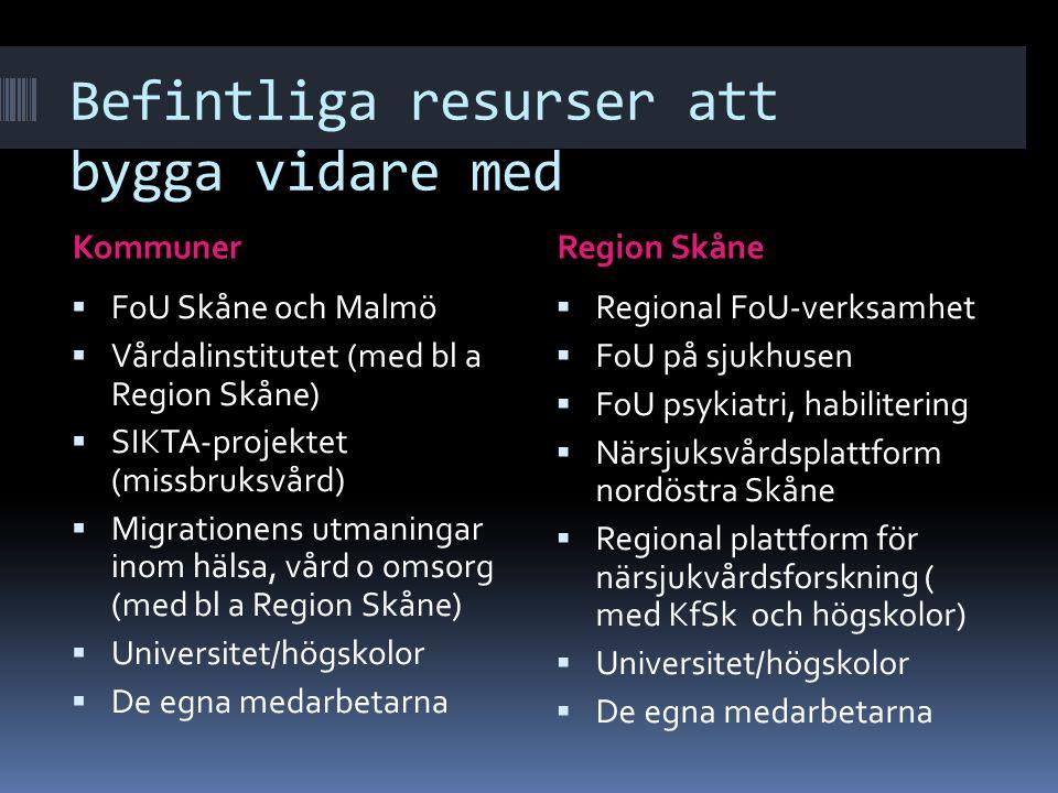 Befintliga resurser att bygga vidare med KommunerRegion Skåne  FoU Skåne och Malmö  Vårdalinstitutet (med bl a Region Skåne)  SIKTA-projektet (miss