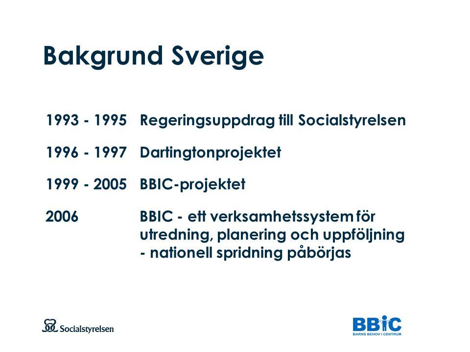 Att visa fotnot, datum, sidnummer Klicka på fliken Infoga och klicka på ikonen sidhuvud/sidfot Klistra in text: Klistra in texten, klicka på ikonen (Ctrl), välj Behåll endast text Bakgrund Sverige 1993 - 1995Regeringsuppdrag till Socialstyrelsen 1996 - 1997Dartingtonprojektet 1999 - 2005BBIC-projektet 2006BBIC - ett verksamhetssystem för utredning, planering och uppföljning - nationell spridning påbörjas