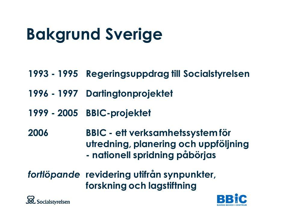 Att visa fotnot, datum, sidnummer Klicka på fliken Infoga och klicka på ikonen sidhuvud/sidfot Klistra in text: Klistra in texten, klicka på ikonen (Ctrl), välj Behåll endast text Bakgrund Sverige 1993 - 1995Regeringsuppdrag till Socialstyrelsen 1996 - 1997Dartingtonprojektet 1999 - 2005BBIC-projektet 2006BBIC - ett verksamhetssystem för utredning, planering och uppföljning - nationell spridning påbörjas fortlöpande revidering utifrån synpunkter, forskning och lagstiftning