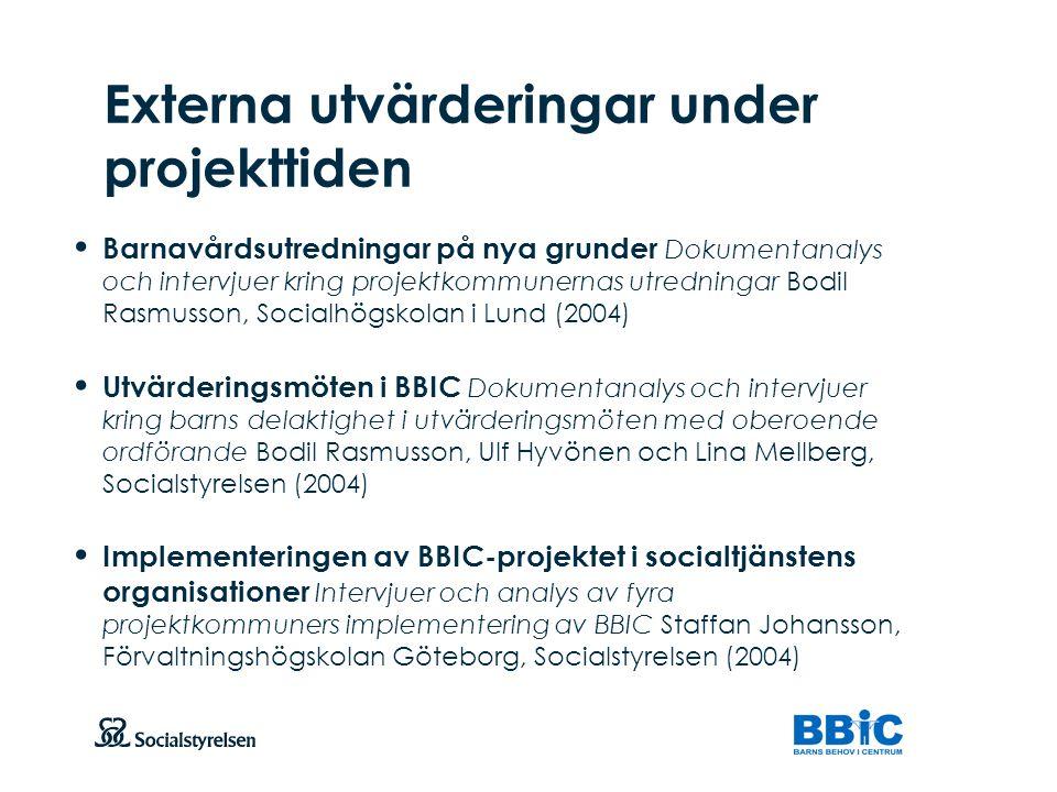 Att visa fotnot, datum, sidnummer Klicka på fliken Infoga och klicka på ikonen sidhuvud/sidfot Klistra in text: Klistra in texten, klicka på ikonen (Ctrl), välj Behåll endast text Barnavårdsutredningar på nya grunder Dokumentanalys och intervjuer kring projektkommunernas utredningar Bodil Rasmusson, Socialhögskolan i Lund (2004) Utvärderingsmöten i BBIC Dokumentanalys och intervjuer kring barns delaktighet i utvärderingsmöten med oberoende ordförande Bodil Rasmusson, Ulf Hyvönen och Lina Mellberg, Socialstyrelsen (2004) Implementeringen av BBIC-projektet i socialtjänstens organisationer Intervjuer och analys av fyra projektkommuners implementering av BBIC Staffan Johansson, Förvaltningshögskolan Göteborg, Socialstyrelsen (2004) Externa utvärderingar under projekttiden