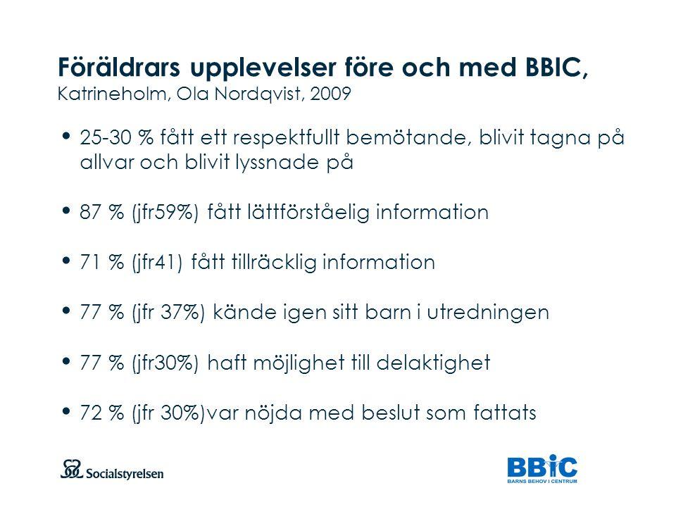 Att visa fotnot, datum, sidnummer Klicka på fliken Infoga och klicka på ikonen sidhuvud/sidfot Klistra in text: Klistra in texten, klicka på ikonen (Ctrl), välj Behåll endast text Föräldrars upplevelser före och med BBIC, Katrineholm, Ola Nordqvist, 2009 25-30 % fått ett respektfullt bemötande, blivit tagna på allvar och blivit lyssnade på 87 % (jfr59%) fått lättförståelig information 71 % (jfr41) fått tillräcklig information 77 % (jfr 37%) kände igen sitt barn i utredningen 77 % (jfr30%) haft möjlighet till delaktighet 72 % (jfr 30%)var nöjda med beslut som fattats