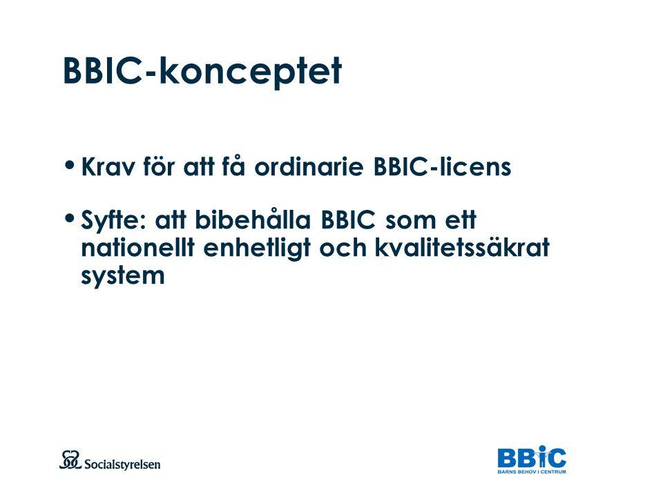 Att visa fotnot, datum, sidnummer Klicka på fliken Infoga och klicka på ikonen sidhuvud/sidfot Klistra in text: Klistra in texten, klicka på ikonen (Ctrl), välj Behåll endast text BBIC-konceptet Krav för att få ordinarie BBIC-licens Syfte: att bibehålla BBIC som ett nationellt enhetligt och kvalitetssäkrat system