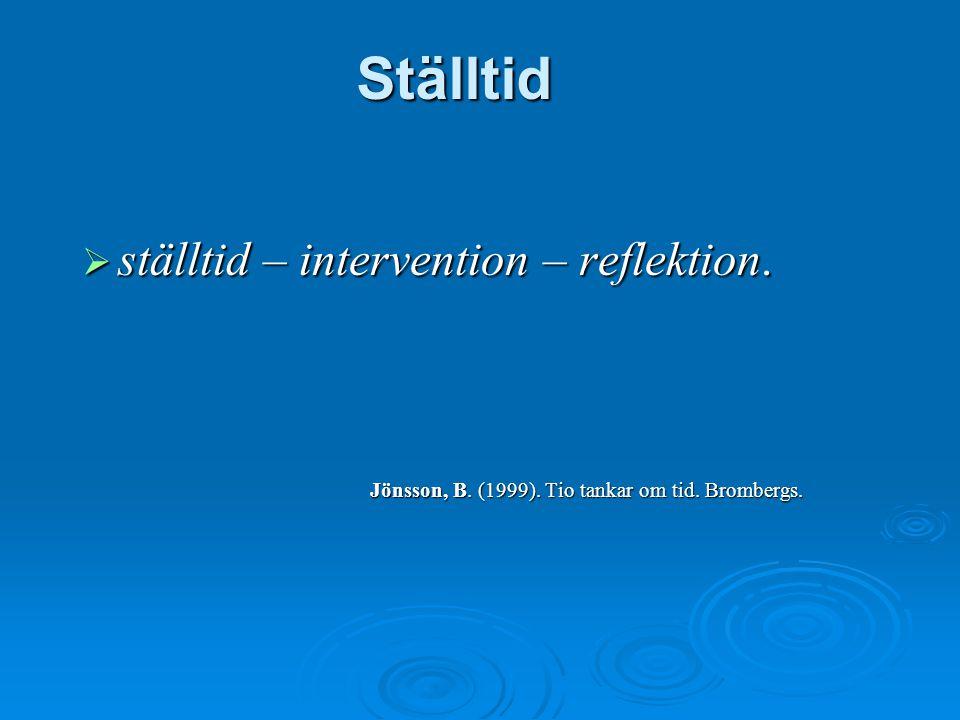 Ställtid  ställtid – intervention – reflektion. Jönsson, B. (1999). Tio tankar om tid. Brombergs.