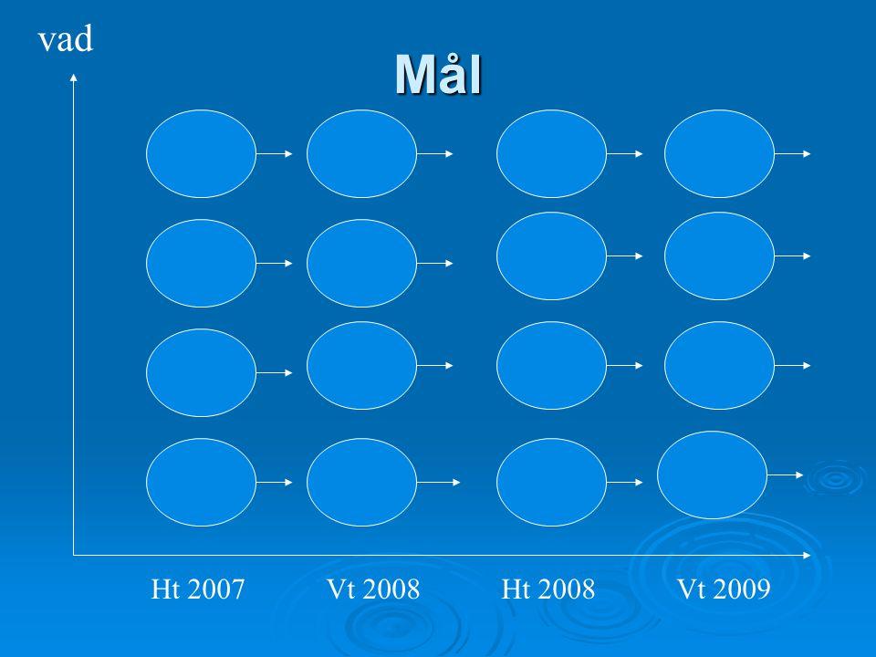 Mål Ht 2007Vt 2008Ht 2008Vt 2009 vad