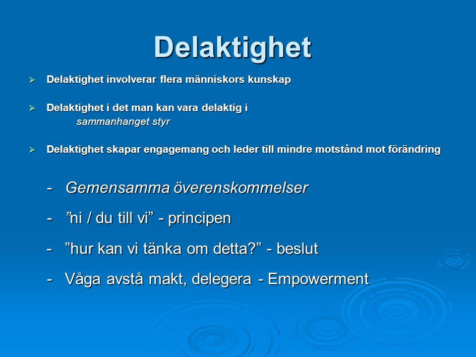 Delaktighet  Delaktighet involverar flera människors kunskap  Delaktighet i det man kan vara delaktig i sammanhanget styr  Delaktighet skapar engagemang och leder till mindre motstånd mot förändring - Gemensamma överenskommelser - ni / du till vi - principen - hur kan vi tänka om detta? - beslut - Våga avstå makt, delegera - Empowerment