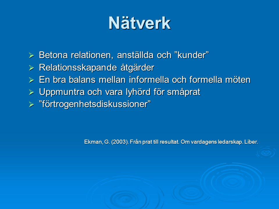 Nätverk  Betona relationen, anställda och kunder  Relationsskapande åtgärder  En bra balans mellan informella och formella möten  Uppmuntra och vara lyhörd för småprat  förtrogenhetsdiskussioner Ekman, G.