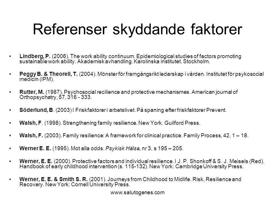 www.salutogenes.com Referenser skyddande faktorer Lindberg, P. (2006). The work ability continuum. Epidemiological studies of factors promoting sustai