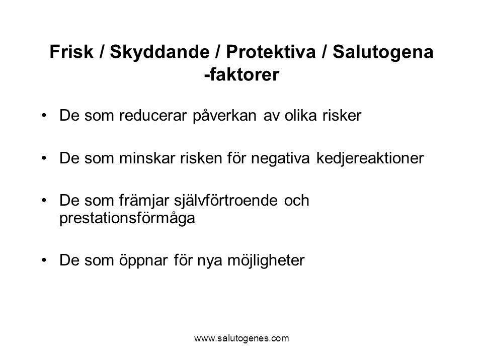 www.salutogenes.com Frisk / Skyddande / Protektiva / Salutogena -faktorer De som reducerar påverkan av olika risker De som minskar risken för negativa