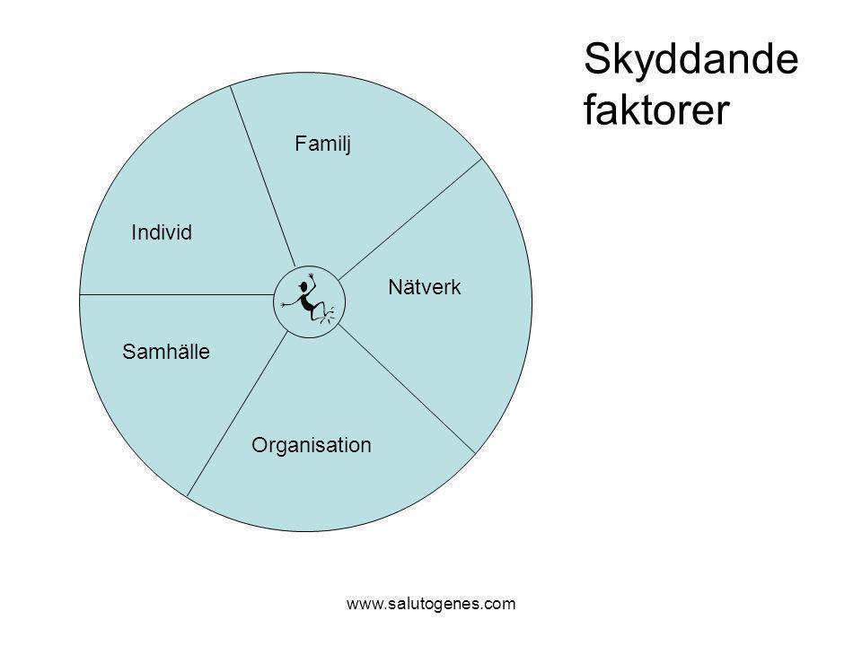 www.salutogenes.com Individ Familj Nätverk Organisation Samhälle Skyddande faktorer