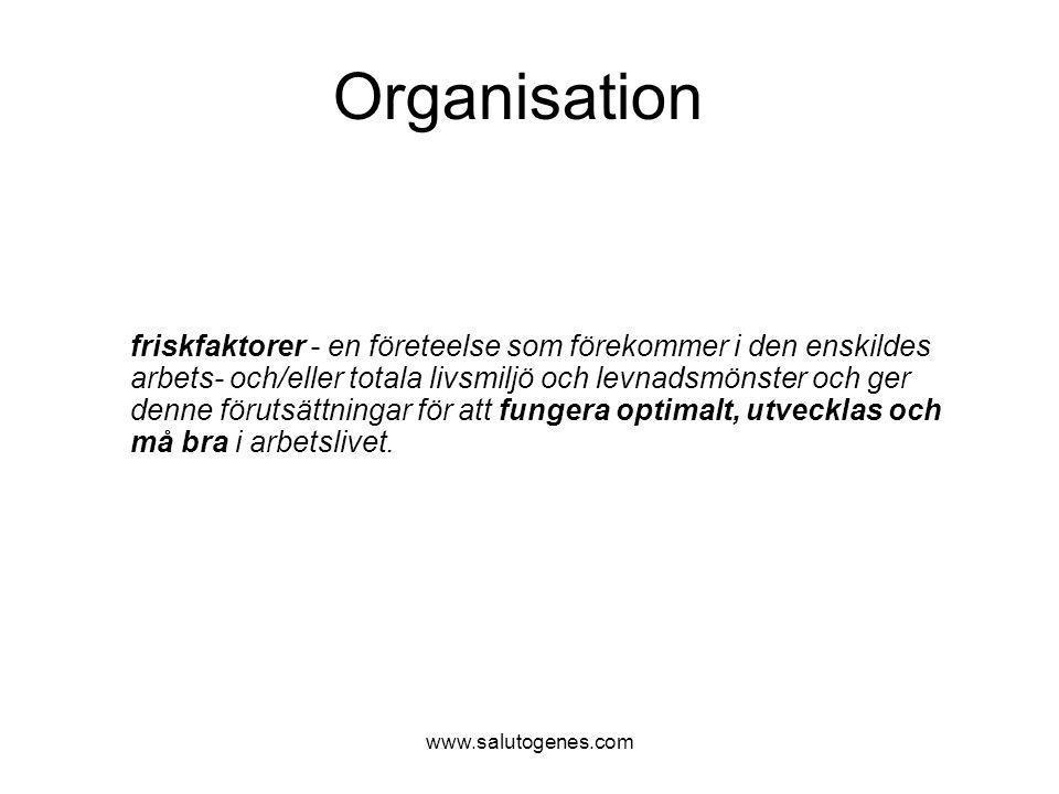 www.salutogenes.com Organisation Ledare som är lyhörda Ledare som har förståelse för medarbetarnas arbetssituation Ledare som är synliga och närvarande i det dagliga arbetet Positiv feed-back från närmaste chef God möteskvalitet Tydliga riktlinjer, tydliga mål Holistiskt synsätt Varierande arbetsuppgifter, utmaningar där erfarenheter och kunskaper tas till vara Att få utvecklas / växa i jobbet kompetensmässigt Möjlighet till utbildning och utveckling Meningsfullhet i och stolthet över det arbete man utför Ställa upp för varandra och hjälps åt Humor