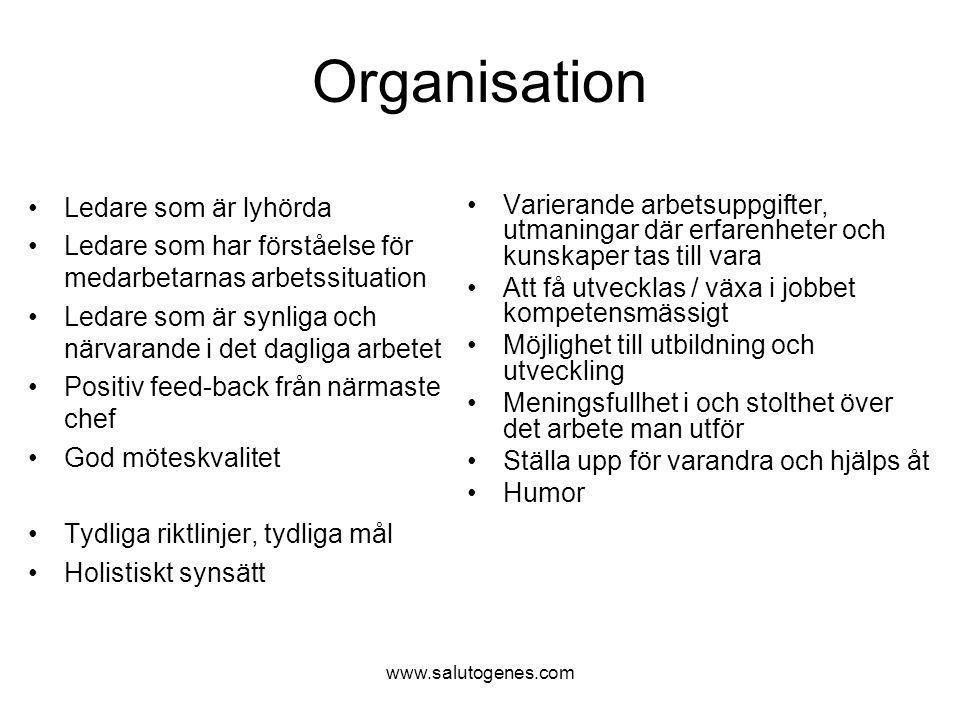 www.salutogenes.com Organisation Ledare som är lyhörda Ledare som har förståelse för medarbetarnas arbetssituation Ledare som är synliga och närvarand