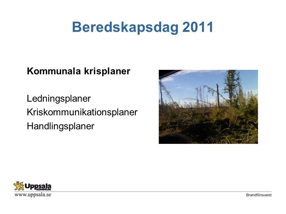 Beredskapsdag 2011 Kommunala krisplaner Ledningsplaner Kriskommunikationsplaner Handlingsplaner