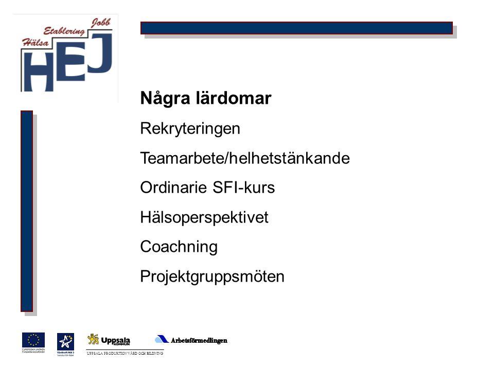 UPPSALA PRODUKTION VÅRD OCH BILDNING Några lärdomar Rekryteringen Teamarbete/helhetstänkande Ordinarie SFI-kurs Hälsoperspektivet Coachning Projektgru