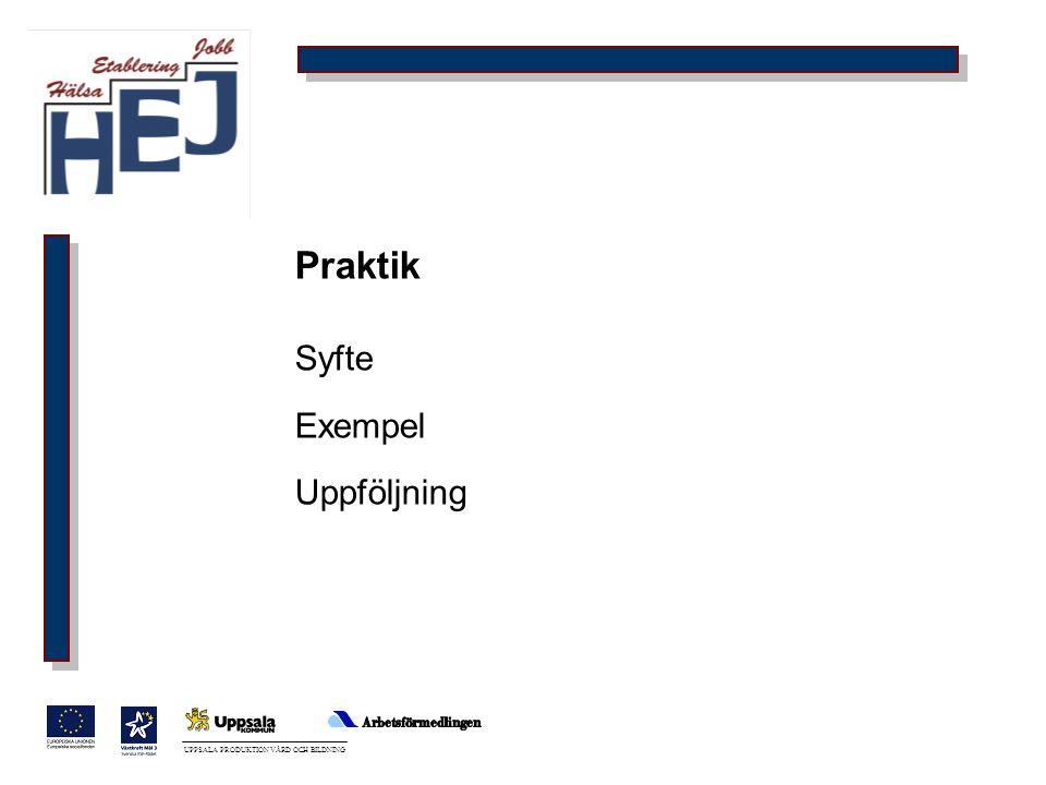 UPPSALA PRODUKTION VÅRD OCH BILDNING Praktik Syfte Exempel Uppföljning