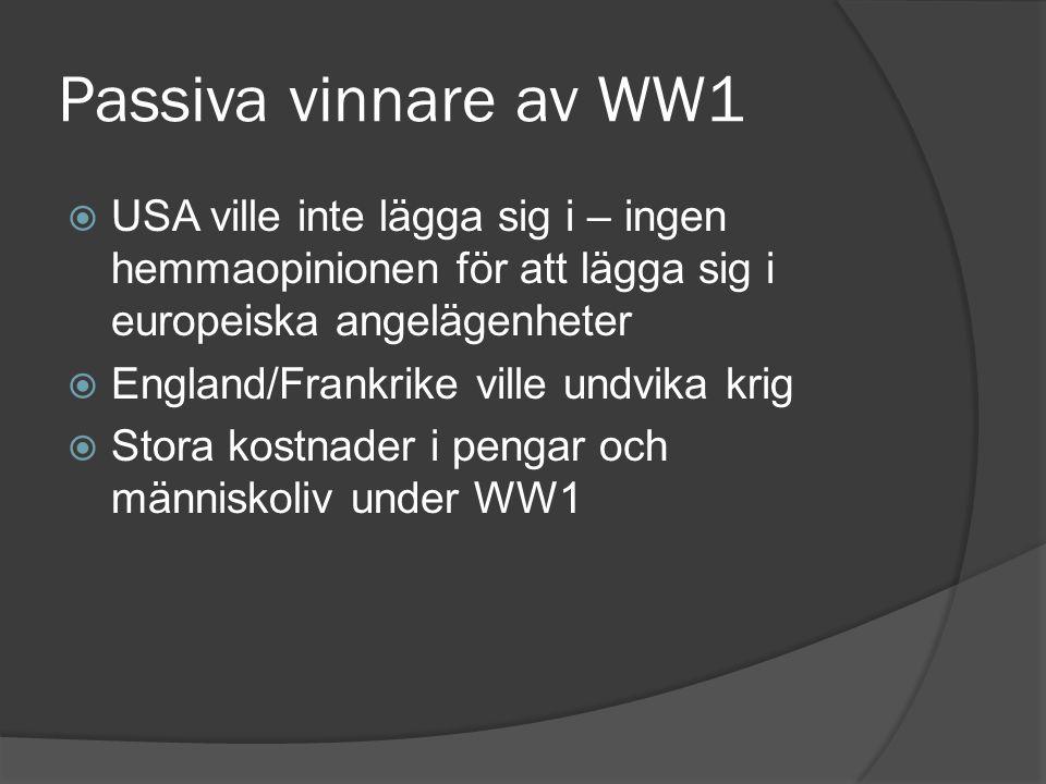 Passiva vinnare av WW1  USA ville inte lägga sig i – ingen hemmaopinionen för att lägga sig i europeiska angelägenheter  England/Frankrike ville und