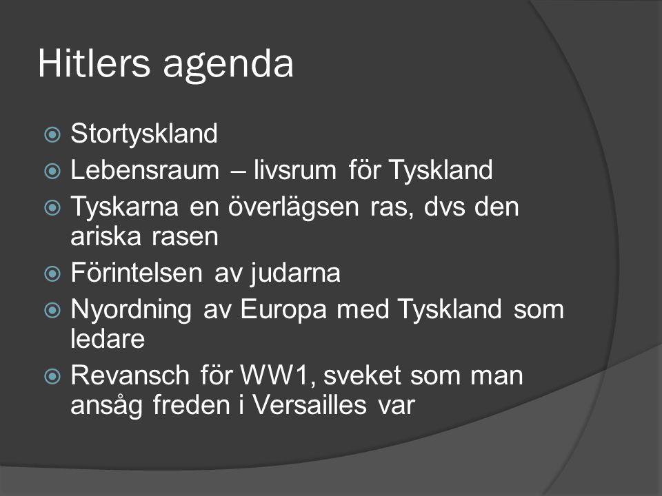 Hitlers agenda  Stortyskland  Lebensraum – livsrum för Tyskland  Tyskarna en överlägsen ras, dvs den ariska rasen  Förintelsen av judarna  Nyordn