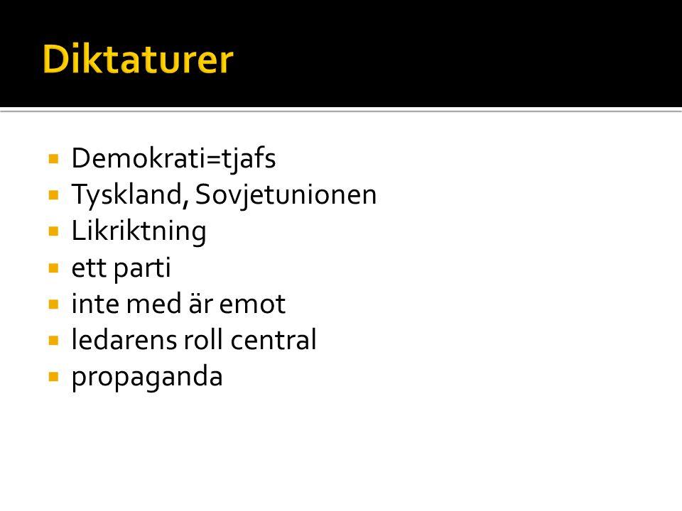  Demokrati=tjafs  Tyskland, Sovjetunionen  Likriktning  ett parti  inte med är emot  ledarens roll central  propaganda