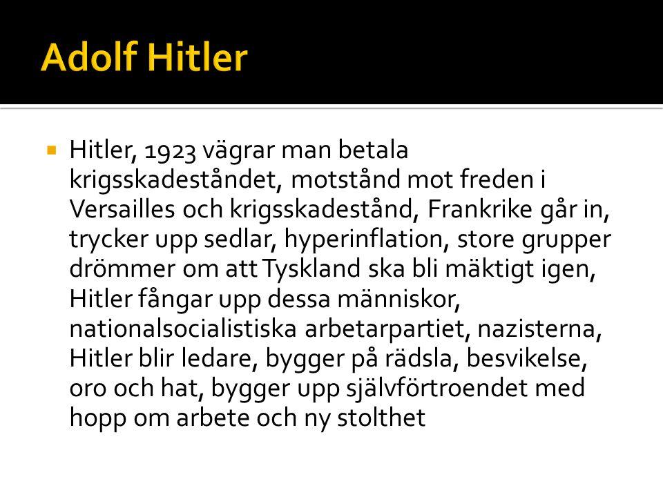  1924-1929 går Tyskland bättre och nazisterna tappar, 1929, depressionen, arbetslöshet, rädsla tar överhanden och trygghet, arbete och gemenskap lockar, största parti i valet 1932, 1933 tar Hitler över makten i Tyskland, diktatur, social kontroll, föreningar i nazismens namn, förbjuder föreningar de inte vill ha, nazismen finns inom alla delar i samhället, bränner böcker, nazisterna bygger upp det tyska samhället med infrastruktur och annat, arbete och bröd till folket, judeförföljerna, vi mot dom, tysklands fiender=judar