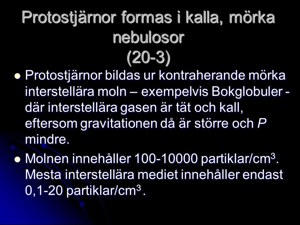 Protostjärnor formas i kalla, mörka nebulosor (20-3) Protostjärnor bildas ur kontraherande mörka interstellära moln – exempelvis Bokglobuler - där int