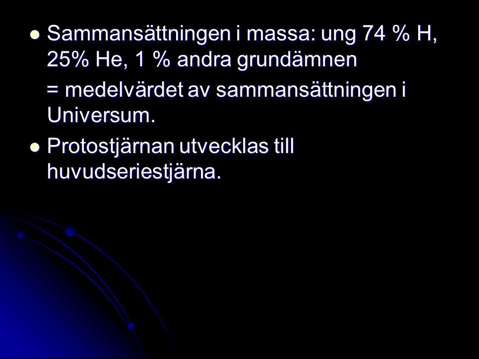 Sammansättningen i massa: ung 74 % H, 25% He, 1 % andra grundämnen Sammansättningen i massa: ung 74 % H, 25% He, 1 % andra grundämnen = medelvärdet av