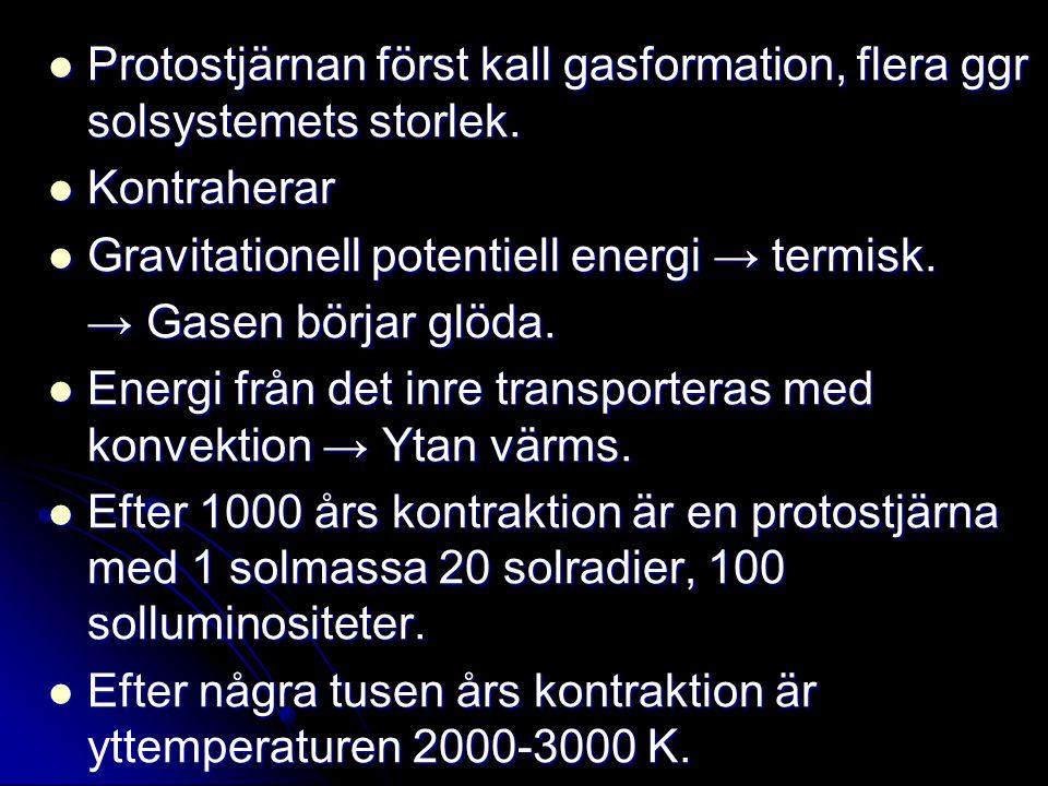 Protostjärnan först kall gasformation, flera ggr solsystemets storlek. Protostjärnan först kall gasformation, flera ggr solsystemets storlek. Kontrahe