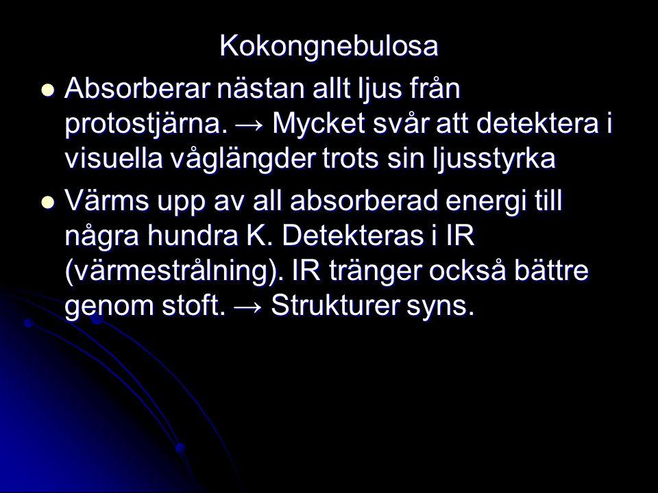 Kokongnebulosa Absorberar nästan allt ljus från protostjärna. → Mycket svår att detektera i visuella våglängder trots sin ljusstyrka Absorberar nästan