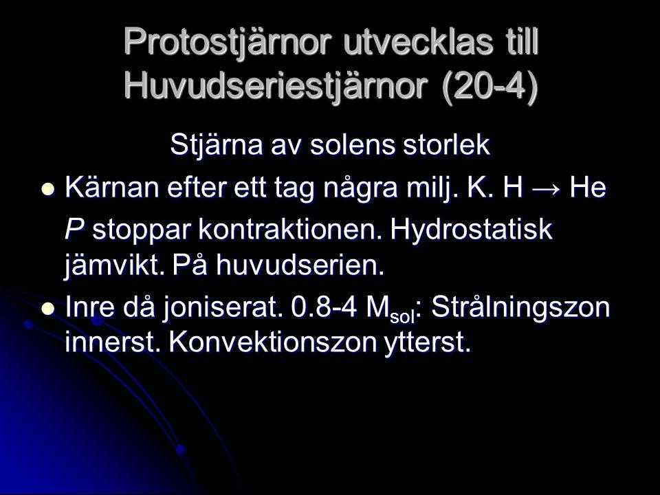 Protostjärnor utvecklas till Huvudseriestjärnor (20-4) Stjärna av solens storlek Kärnan efter ett tag några milj. K. H → He Kärnan efter ett tag några
