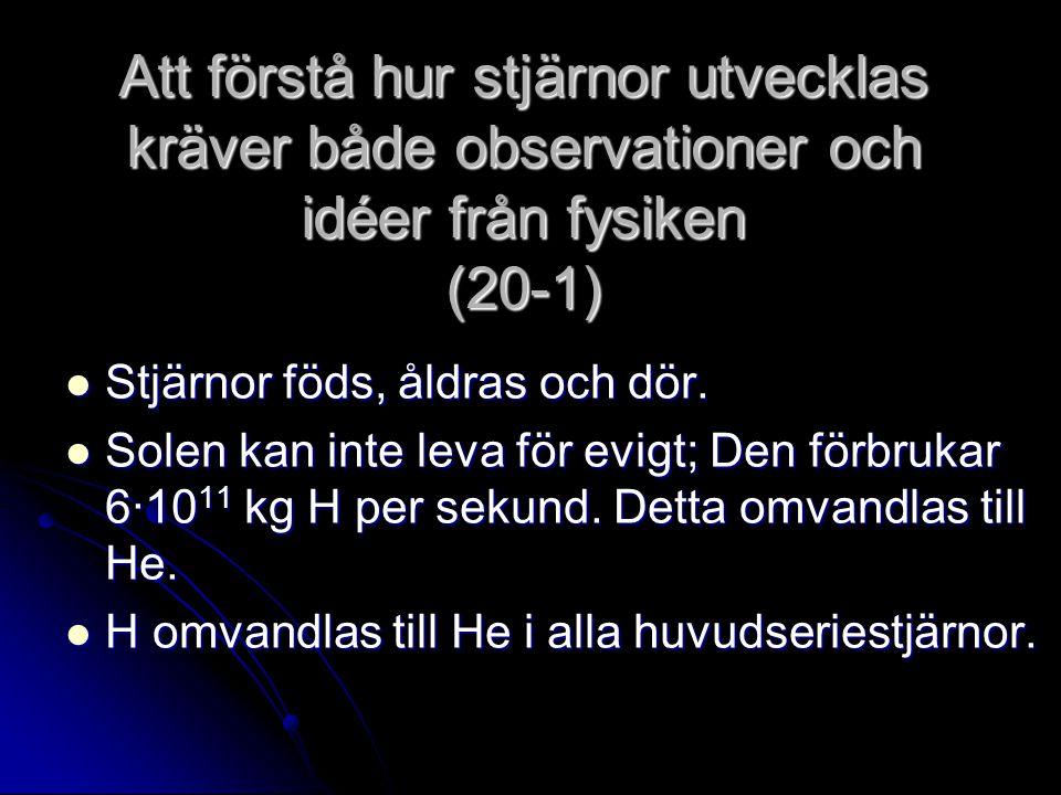 Att förstå hur stjärnor utvecklas kräver både observationer och idéer från fysiken (20-1) Stjärnor föds, åldras och dör. Stjärnor föds, åldras och dör